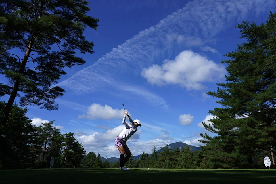 Hiromu Ono of Japan hits her tee shot on the 3rd hole during the final round of the Chugoku Shimbun Chupea Ladies Cup at the Geinan Country Club on September 25, 2021 in Hatsukaichi, Hiroshima, Japan.