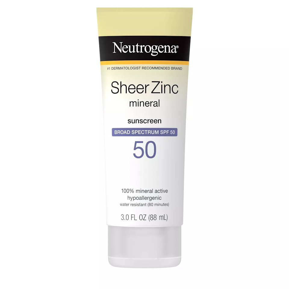 """This sheer, lightweight formula is suitable for both your face and body, so it's perfect for tossing in your beach or pool bag. The brand's dry-touch technology means it dries down to a nongreasy finish, and it's water-resistant to keep you protected longer. Plus, it's noncomedogenic—great for acne-prone skin—and has the the National Eczema Association Seal of Acceptance. $13, Target. <a href=""""https://www.target.com/p/neutrogena-sheer-zinc-mineral-sunscreen-lotion-spf-50-3-fl-oz/-/A-82389686?preselect=51247094#lnk=sametab"""" rel=""""nofollow noopener"""" target=""""_blank"""" data-ylk=""""slk:Get it now!"""" class=""""link rapid-noclick-resp"""">Get it now!</a>"""