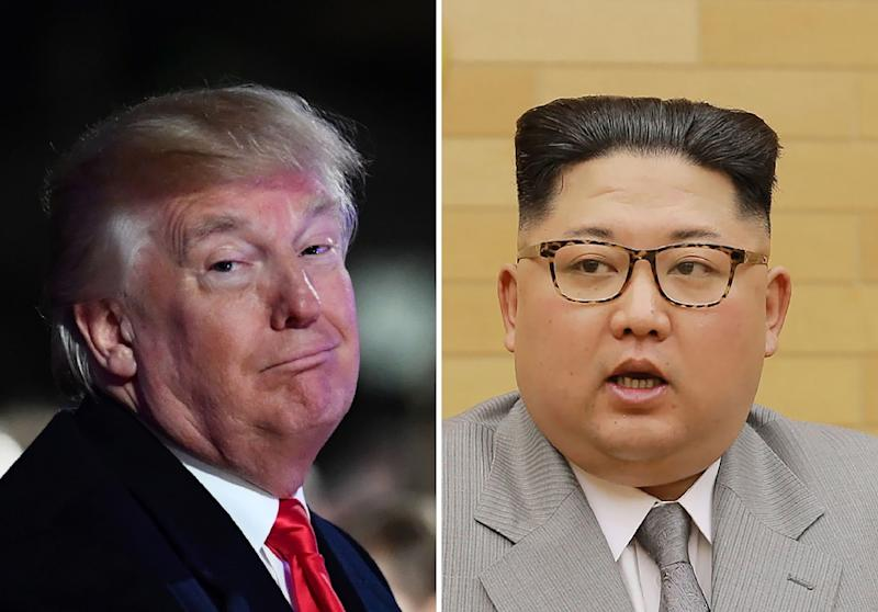 Donald Trump and Kim Jong-Un have repeatedly traded threats of war and personal insults during months of high tensions over Pyongyang's weapons ambitions (AFP Photo/KCNA via KNS, Nicholas KAMM)