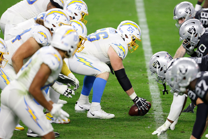LAS VEGAS, NEVADA - DECEMBER 17: Center Dan Feeney #66 of the Los Angeles Chargers readies at the line of scrimmage.