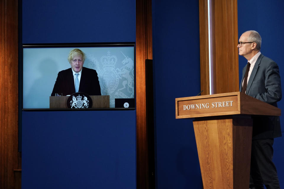 LONDON, ENGLAND - JULY 19: Chief Scientific Advisor Patrick Vallance attends a media briefing on coronavirus at Downing Street with Britain's Prime Minister Boris Johnson attending online via a screen from Chequers, the country house of the Prime Minister where he is self-isolating on July 19, 2021 in London, England. The Prime Minister and Chancellor were both contacted by Track and Trace this weekend after the Health Minister, Sajod Javid, tested positive for the Covid-19 virus. Today sees the complete relaxation of Covid lockdown rules and is being dubbed