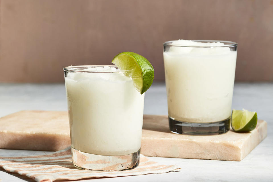 <p>Coconut water brings just enough sweetness to this frozen coconut margarita to add flavor to the drink without making it too sweet. The lime juice and Coco López give this drink a tropical flavor, while the tequila and triple sec make it taste like a solid margarita.</p>