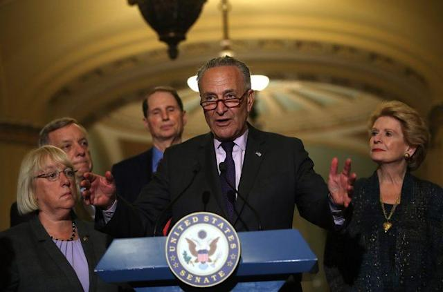 Senate Minority Leader Chuck Schumer speaks to reporters during a news conference on Capitol Hill following a procedural vote on the GOP health care bill. (Photo: Justin Sullivan/Getty Images)