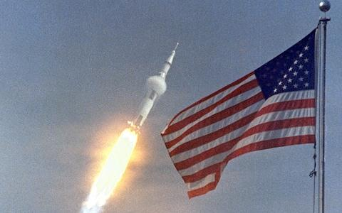 The lift-off of Saturn V, which propelled Apollo 11 from Earth, 16 July 1969  - Credit: NASA