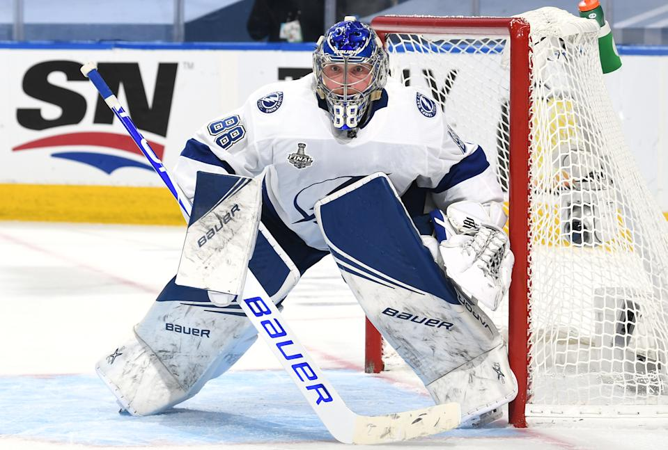EDMONTON, ALBERTA - SEPTEMBER 23: Goaltender Andrei Vasilevskiy #88 of the Tampa Bay Lightning defends his net in the third period of Game Three of the NHL Stanley Cup Final between the Tampa Bay Lightning and the Dallas Stars at Rogers Place on September 23, 2020 in Edmonton, Alberta, Canada. (Photo by Andy Devlin/NHLI via Getty Images)