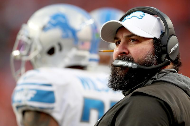 Matt Patricia of the Detroit Lions has nine wins through two seasons. (Photo by Matthew Stockman/Getty Images)