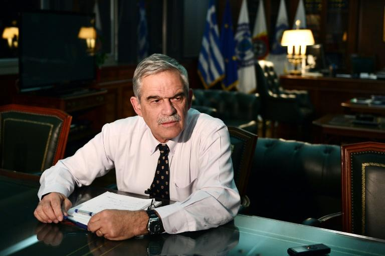 Greek Police Minister Nikos Toskas, seen here during a 2015 interview with AFP, said the 'Conspiracy of Fire Nuclei' militant group was disbanded in 2011