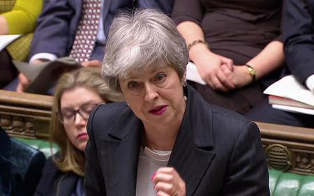 Britain's Prime Minister Theresa May answers questions in the Parliament in London, Britain, March 20, 2019 in this screen grab taken from video. Reuters TV via REUTERS