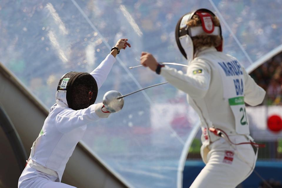 RIO DE JANEIRO, BRAZIL - AUGUST 19:  Anna Maliszewska of Poland (L) and Yane Marcia Marques of Brazil compete during the Women's Fencing Modern Pentathlon on Day 14 of the Rio 2016 Olympic Games at the Deodoro Stadium on August 19, 2016 in Rio de Janeiro, Brazil.  (Photo by Rob Carr/Getty Images)