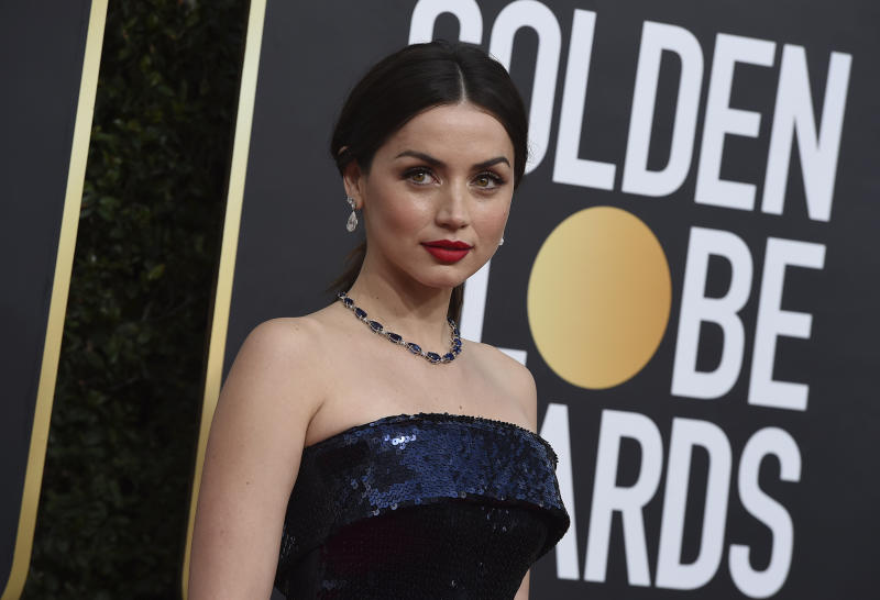 Ana de Armas arrives at the 77th annual Golden Globe Awards at the Beverly Hilton Hotel on Sunday, Jan. 5, 2020, in Beverly Hills, Calif. (Photo by Jordan Strauss/Invision/AP)