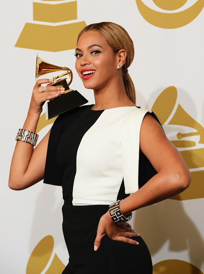 Beyonce, winner Best Traditional R&B Performance, poses in the press room at the 55th Annual Grammy Awards at the Staples Center in Los Angeles, CA on February 10, 2013.
