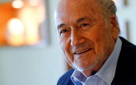 FILE PHOTO: Former FIFA President Sepp Blatter smiles during an interview in Zurich, Switzerland April 21, 2017.  REUTERS/Arnd Wiegmann
