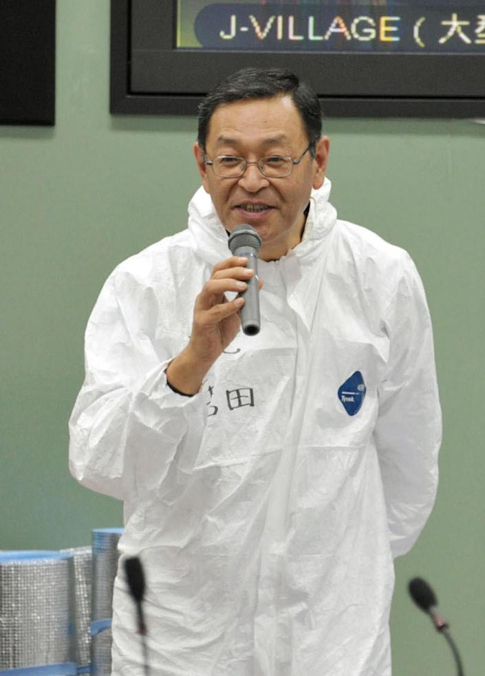 In this November 2011 photo, then Fukushima Dai-ichi nuclear power plant chief Masao Yoshida speaks at the plant in Okuma town, Fukushima Prefecture, northeastern Japan. Yoshida, who led efforts to stabilize the crippled nuclear power plant, after it was hit by the March 11, 2011 earthquake and tsunami, died of cancer of the esophagus Tuesday morning, July 9, 2013, Tokyo Electric Power Co. said. He was 58. (AP Photo/Kyodo News) JAPAN OUT, MANDATORY CREDIT