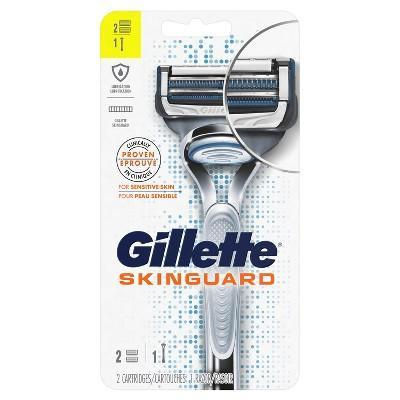 "<p>target.com</p><p><strong>$9.99</strong></p><p><a href=""https://www.target.com/p/gillette-skinguard-men-s-razor-1-handle-2-razor-blade-refills/-/A-75564975"" rel=""nofollow noopener"" target=""_blank"" data-ylk=""slk:BUY IT HERE"" class=""link rapid-noclick-resp"">BUY IT HERE</a></p><p>The newest cartridge razor from Gillette features a protective guard between the blades which helps to distribute pressure and minimize tug. Specifically designed for men with sensitive skin, it also keeps the blades at an angle that can still cut hair, but touch skin a little less.</p>"