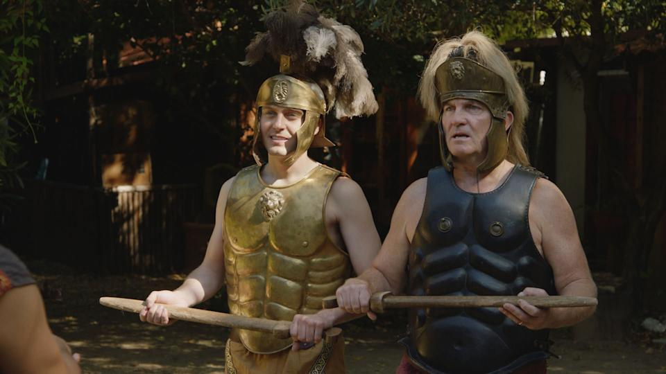 Having arrived in Rome Barney and Bradley Walsh take a trip back in time and battle it out as Gladiators. (ITV)