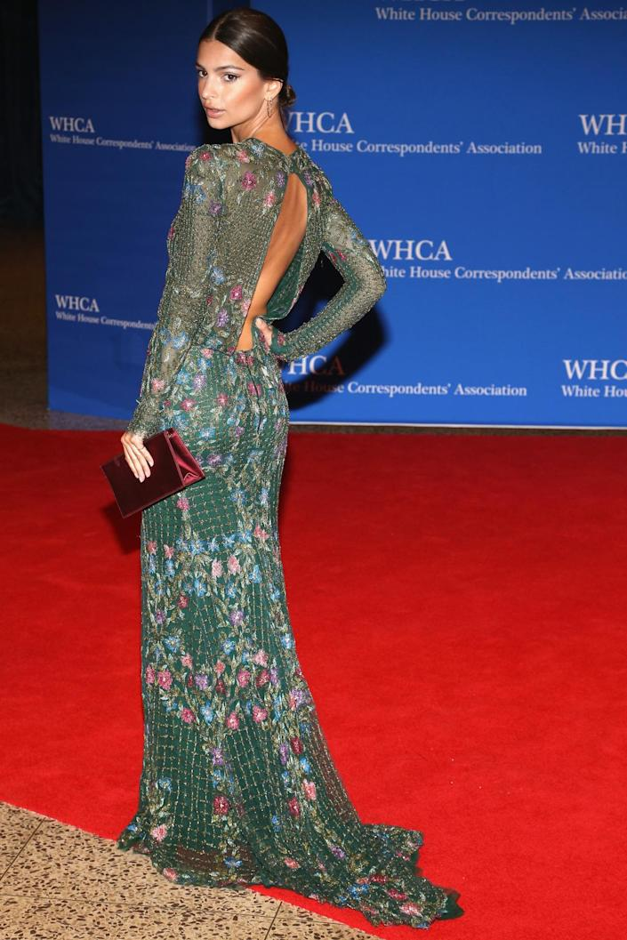 <p>Actress Emily Ratajkowski attends the 102nd White House Correspondents' Dinner, April 30. <i>(Photo: Paul Morigi/WireImage)</i></p>