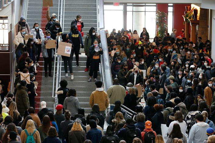 <p>Students gather at the Ohio Union on the campus of Ohio State University to protest yesterday's shooting of Ma'Khia Bryant by Columbus Police Wednesday, April 21, 2021, in Columbus, Ohio</p> (AP Photo/Jay LaPrete)