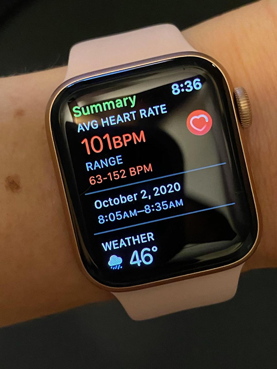<p>If you continue scrolling down, you'll see the heart-rate results. I like how it shows you the low to high range of your beats per minute (BPM). My range was 63 to 152 BPM, with a 101 BPM average.</p>