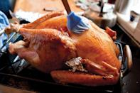 """To bring just the right amount of autumnal flair, this extra-crispy turkey gets stuffed with sweet apples. <a href=""""https://www.epicurious.com/recipes/food/views/dry-brined-turkey?mbid=synd_yahoo_rss"""" rel=""""nofollow noopener"""" target=""""_blank"""" data-ylk=""""slk:See recipe."""" class=""""link rapid-noclick-resp"""">See recipe.</a>"""