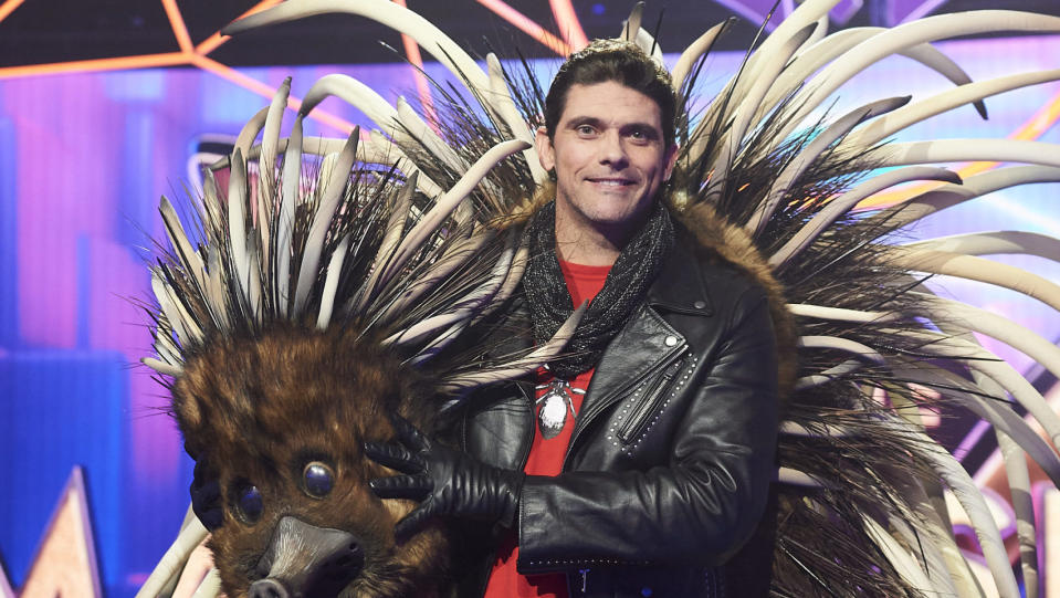 Tennis star Mark Philippoussis was revealed to be the Echidna on The Masked Singer on Monday. Photo: Ten