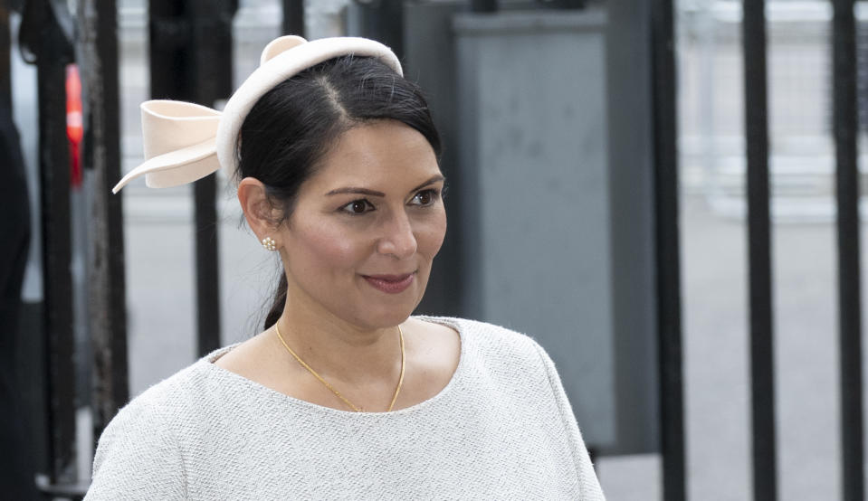 LONDON, ENGLAND - MARCH 09: Priti Patel attends the Commonwealth Day Service 2020 at Westminster Abbey on March 9, 2020 in London, England. (Photo by Mark Cuthbert/UK Press via Getty Images)
