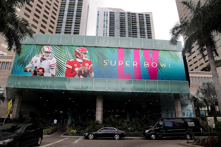 Super logos and branding were on full display at Super Bowl Live at Bayfront Park in Miami on Thursday, Jan. 23, 2020. The week-long, free to the public fan festival opens its doors on Saturday, Jan. 25, and will take over all six blocks of Bayfront Park, offering evening parades, fireworks, live performances, water shows, a culinary stage and more. (Mike Stocker/Sun Sentinel/Tribune News Service via Getty Images)