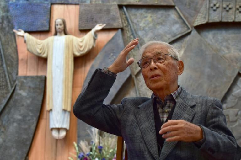 Atomic bomb survivor Kenji Hayashida speaks during an interview with AFP at a Catholic church in Nagasaki ahead of a visit by Pope Francis