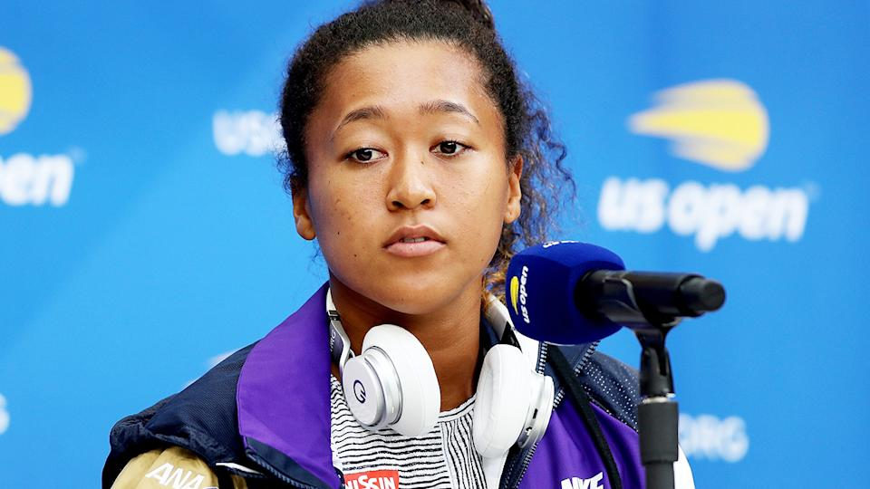 Naomi Osaka, pictured here speaking to the media at the US Open.