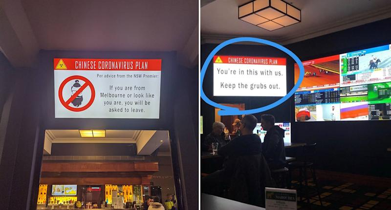 Two signs inside the Maroubra Junction Hotel, which have been blasted as racist.
