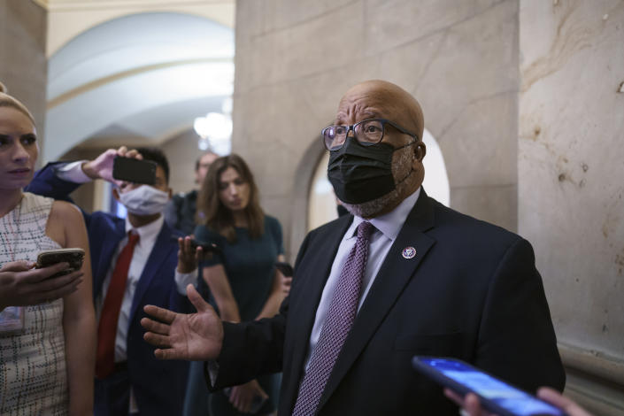 FILE - In this July 22, 2021, file photo Rep. Bennie Thompson, D-Miss., chairman of the House select committee investigating the Jan. 6 Capitol insurrection, speaks with reporters after members of the panel met with House Speaker Nancy Pelosi to prepare for the start of hearings next week, at the Capitol in Washington. (AP Photo/J. Scott Applewhite, File)