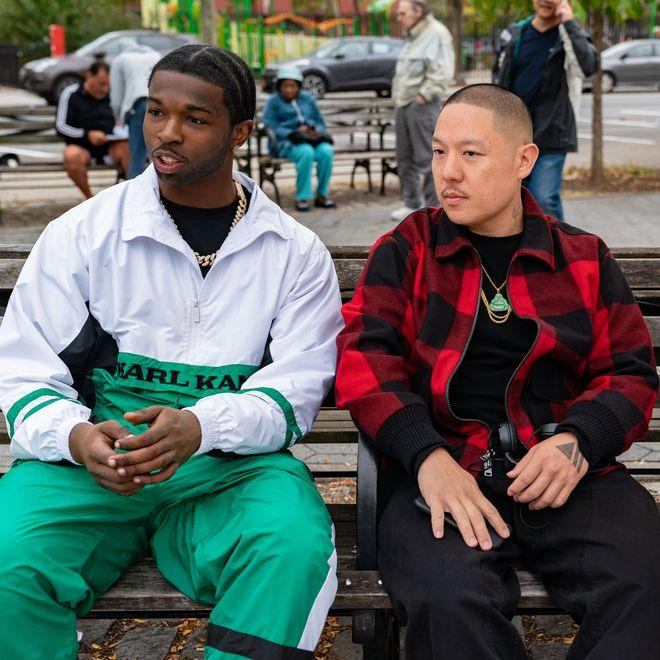 Pop Smoke and Eddie Huang on the set of