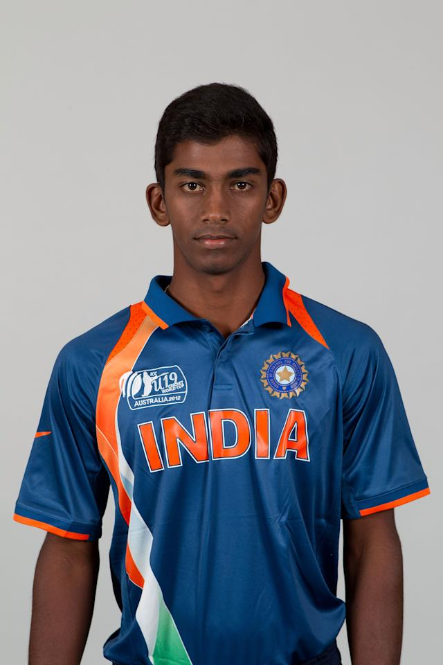 BRISBANE, AUSTRALIA - AUGUST 06:  Baba Aparajith of India poses during a ICC U19 Cricket World Cup 2012 portrait session at Allan Border Field on August 6, 2012 in Brisbane, Australia.  (Photo by Matt King-ICC/Getty Images)