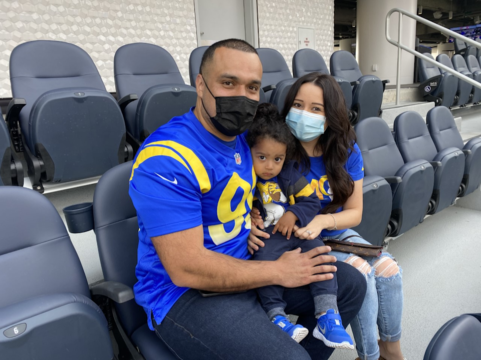 Victor Barajas and family at SoFi Stadium.