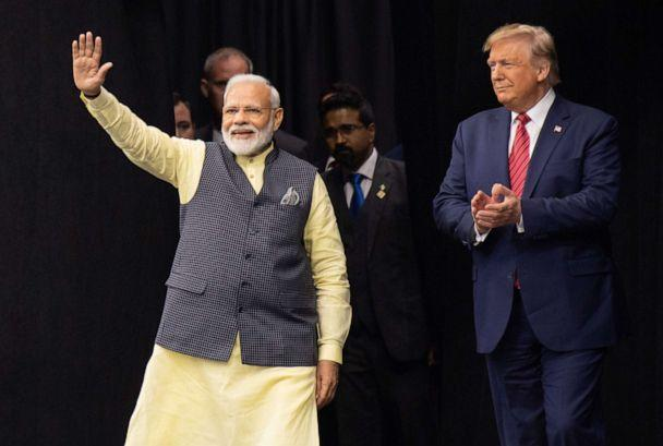 PHOTO: President Donald Trump and Indian Prime Minister Narendra Modi attend a joint rally, 'Howdy, Modi!', at NRG Stadium in Houston, Sept. 22, 2019. (Saul Loeb/AFP via Getty Images, FILE)