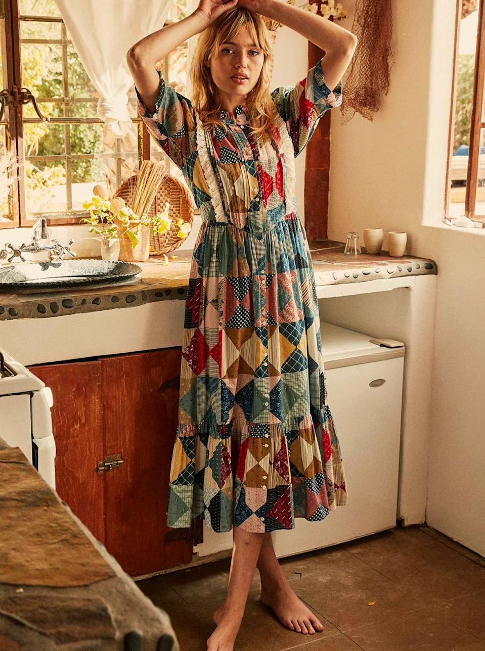 """Patchwork is happening, so all of you '70s-inspired ladies should give the retro trend a try with the help of the top-tier dressmakers at Dôen. $298, Dôen. <a href=""""https://shopdoen.com/collections/dresses/products/darby-dress-patchwork-print"""" rel=""""nofollow noopener"""" target=""""_blank"""" data-ylk=""""slk:Get it now!"""" class=""""link rapid-noclick-resp"""">Get it now!</a>"""