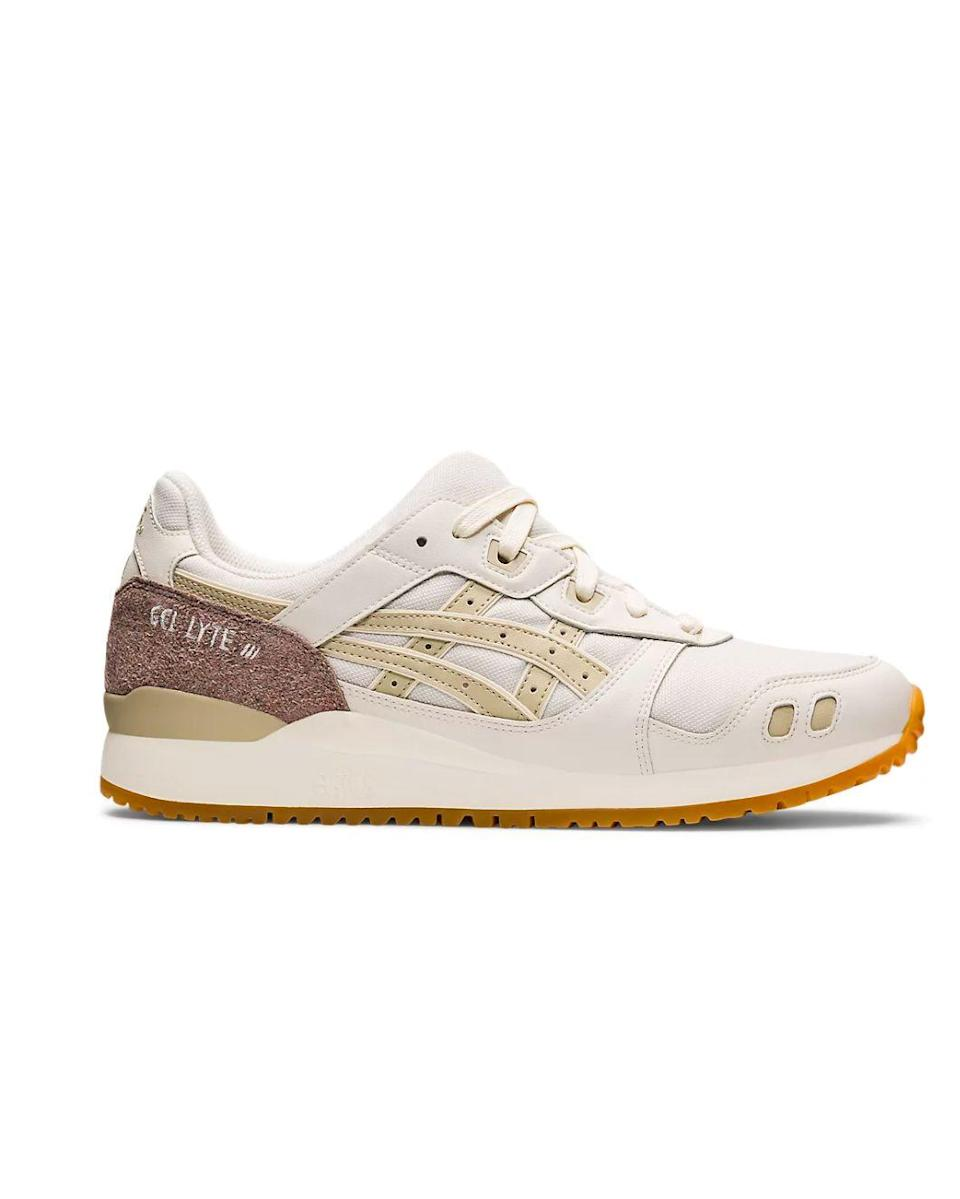 """<p><strong>Which style? </strong>GEL-LYTE III </p><p><strong>How much? </strong>£105.00</p><p><a class=""""link rapid-noclick-resp"""" href=""""https://go.redirectingat.com?id=127X1599956&url=https%3A%2F%2Fwww.asics.com%2Fgb%2Fen-gb%2Fgel-lyte-iii-og%2Fp%2F1201A206-101.html&sref=https%3A%2F%2Fwww.womenshealthmag.com%2Fuk%2Ffitness%2Fg28619284%2Fvegan-trainers%2F"""" rel=""""nofollow noopener"""" target=""""_blank"""" data-ylk=""""slk:SHOP NOW"""">SHOP NOW</a></p><p>Ok we couldn't resist adding another Asics design into the mix – the brand is having a real moment right now. The GEL-LYTE III, released for Earth Day 2021, is a sustainable take on a '90s archival trainer. The breathable mesh upper is made from recycled polyester and dyed in a neutral putty hue that uses 45% less Co2 than typical processes. Naturally, being from the brand's Gel lineup, it goes without saying that this vegan trainer is insanely comfortable. </p>"""