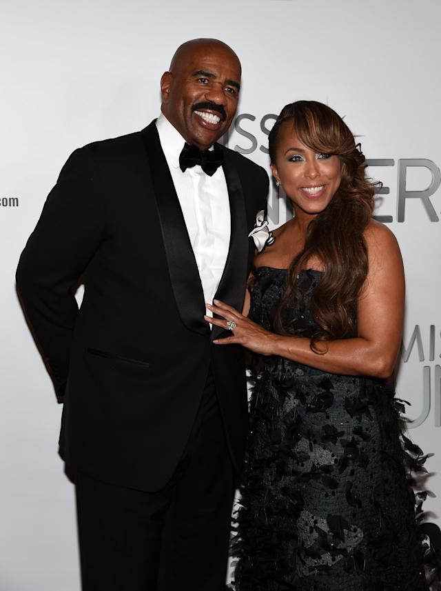 Steve Harvey is sticking up for his wife, Marjorie. (Photo: Ethan Miller/Getty Images)