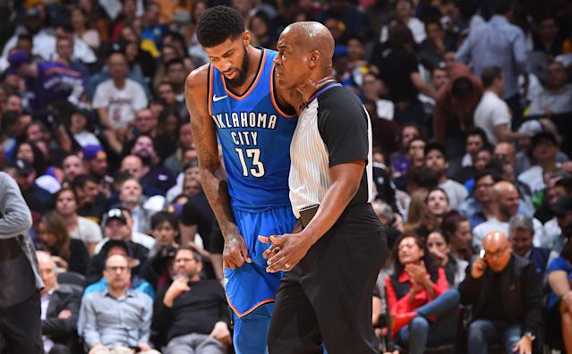 "Thunder star <a class=""link rapid-noclick-resp"" href=""/nba/players/4725/"" data-ylk=""slk:Paul George"">Paul George</a> engages in some dialogue with an official during a recent game. (Getty Images)"