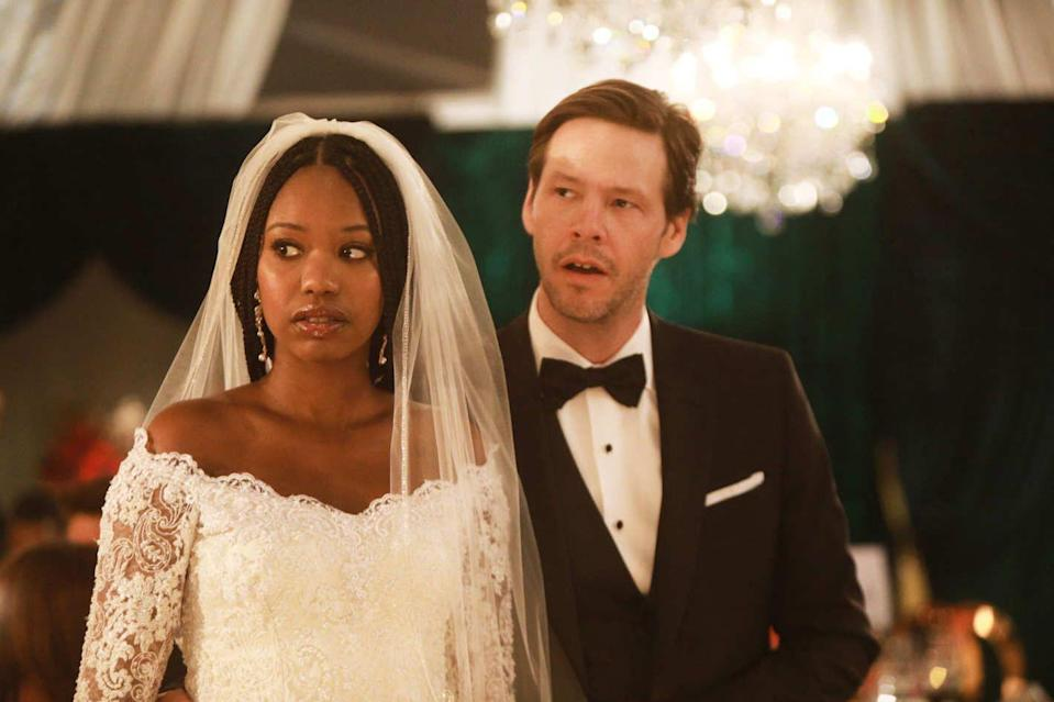 <p>SPOILER ALERT: In the series finale of <em>The Mindy Project</em>, Tamra and Morgan finally tie the knot. She wears a stunning off-the-shoulder lace gown with a veil attached to her gorgeous braids. </p>