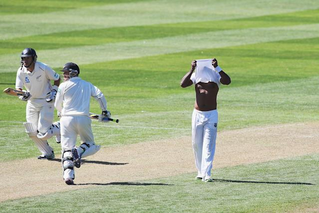 DUNEDIN, NEW ZEALAND - DECEMBER 03: Tino Best of the West Indies reacts as Brendon McCullum of New Zealand flicks the ball away for four runs during day one of the first test match between New Zealand and the West Indies at University Oval on December 3, 2013 in Dunedin, New Zealand. (Photo by Hannah Johnston/Getty Images)