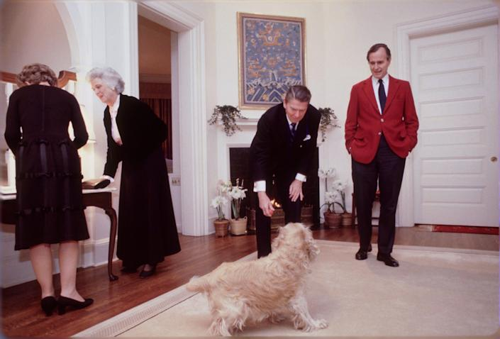 The Reagans and Bushes in the vice president's official residence