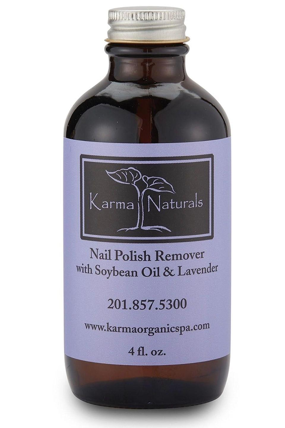 """<p><strong>karma organic</strong></p><p>amazon.com</p><p><strong>$11.99</strong></p><p><a href=""""https://www.amazon.com/dp/B00G7S424O?tag=syn-yahoo-20&ascsubtag=%5Bartid%7C10049.g.33348729%5Bsrc%7Cyahoo-us"""" rel=""""nofollow noopener"""" target=""""_blank"""" data-ylk=""""slk:Shop Now"""" class=""""link rapid-noclick-resp"""">Shop Now</a></p><p>FYI, headache-inducing smells and intense chemicals don't have to be a part of your removal routine. This acetone-free nail <a href=""""https://www.cosmopolitan.com/style-beauty/beauty/news/g4598/nail-polish-colors-for-spring/"""" rel=""""nofollow noopener"""" target=""""_blank"""" data-ylk=""""slk:polish"""" class=""""link rapid-noclick-resp"""">polish</a> remover won't leave you (or your nails) stressed out—with soybean oil and lavender essential oils, <strong>it cleans up your nails, while also leaving them soft and smooth.</strong><br></p>"""
