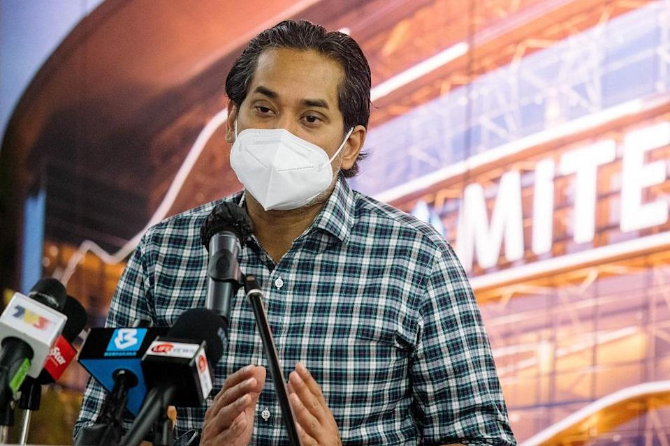 Minister of Science, Technology and Innovation Khairy Jamaluddin speaks during a press conference in Kuala Lumpur June 26, 2021. ― Picture by Firdaus Latif