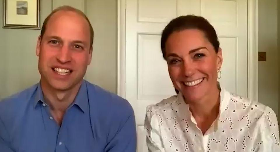 The Duke and Duchess of Cambridge had a video call with volunteers from the charity Shout on Wednesday 3 June.  (Kensington Palace)