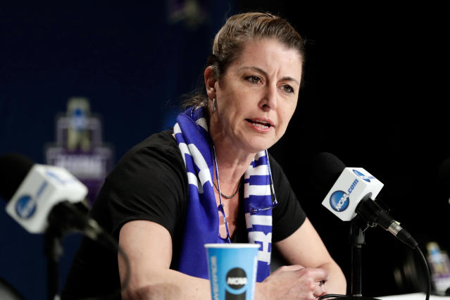 FILE - In this March 23, 2018, file photo, Duke head coach Joanne P. McCallie speaks during a news conference at the NCAA women's college basketball tournament, in Albany, N.Y. McCallie wont return for a 14th season as Dukes womens basketball coach. McCallie announced her departure in a 6-minute video posted Thursday, July 2, 2020, on the programs Twitter account. She said she was choosing to step away as coach, saying she wanted to bring clarity instead of uncertainty as she entered the final year of her contract. (AP Photo/Frank Franklin II, File)