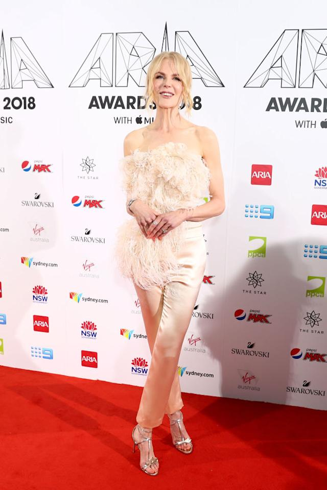 <p>On November 28, Nicole Kidman made the best dressed list once more courtesy of a feathered cold-shoulder co-ord by Oscar de la Renta – perfect for party season. <em>[Photo: Getty]</em> </p>