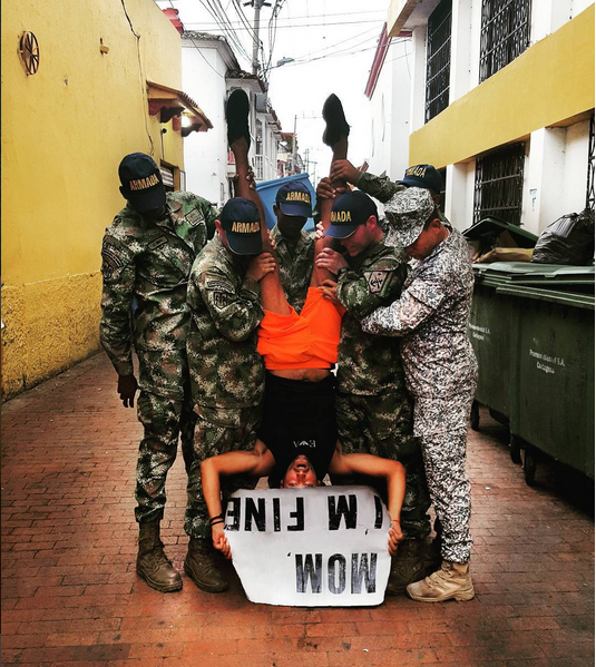 With the Colombian army.