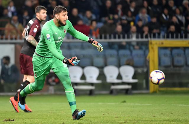 "AC Milan's <a class=""link rapid-noclick-resp"" href=""/soccer/players/522628/"" data-ylk=""slk:Gianluigi Donnarumma"">Gianluigi Donnarumma</a> is going to want this goal he conceded back. (Getty)"