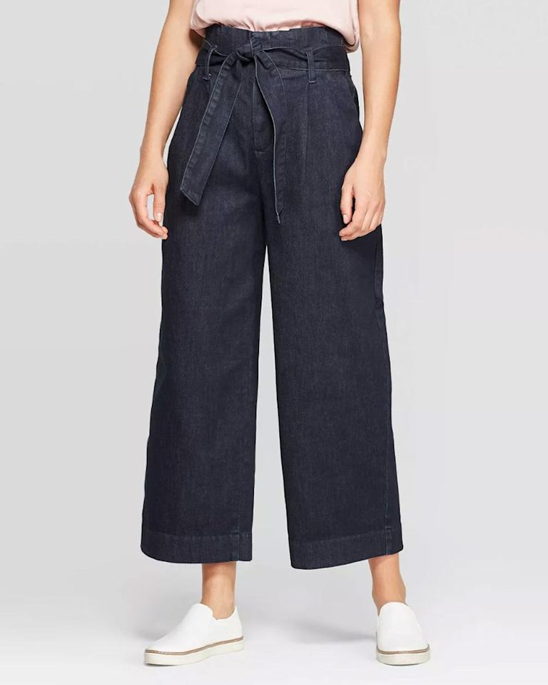 """Also available in <a href=""""https://www.target.com/p/women-s-plus-size-paperbag-denim-pants-a-new-day-153-indigo/-/A-54631945?preselect=54529655#lnk=sametab"""" rel=""""nofollow"""">plus sizes</a>. $29.99, Target. <a href=""""https://www.target.com/p/women-s-high-rise-regular-fit-wide-leg-paperbag-cropped-pants-a-new-day-indigo/-/A-54475293?preselect=54455334#lnk=sametab"""">Get it now!</a>"""