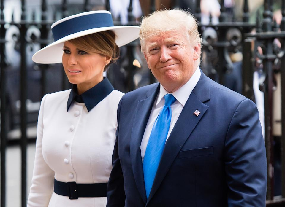US President Donald Trump  and First Lady Melania Trump  arrive for a visit to Westminster Abbey on June 03, 2019 in London, England. President Trump's three-day state visit will include lunch with the Queen, and a State Banquet at Buckingham Palace, as well as business meetings with the Prime Minister and the Duke of York, before travelling to Portsmouth to mark the 75th anniversary of the D-Day landings.